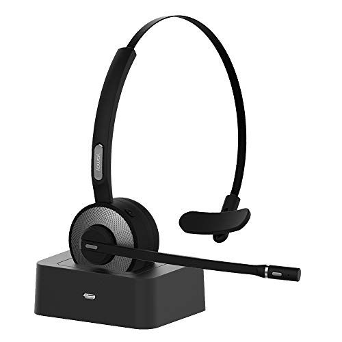 Bluetooth Headset For Cell Phones Yamay Wireless Headset With Microphone Charging Dock Noise Cancelling Sound Mute B Wireless Headset Bluetooth Headset Headset