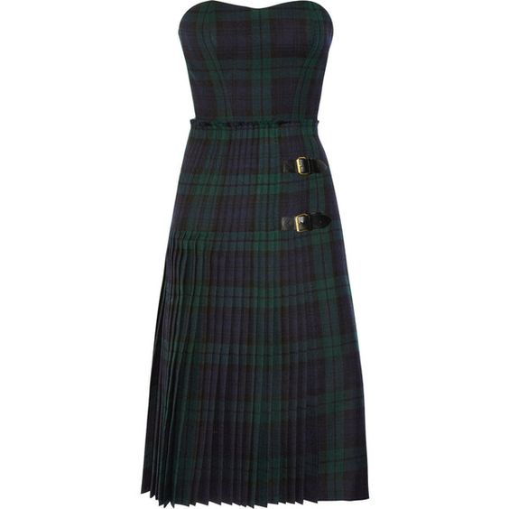McQ Alexander McQueen The Black Watch plaid bustier dress (2 170 AUD) ❤ liked on Polyvore featuring dresses, navy, black fitted dress, pleated dress, black bustier, loose black dress and black dress