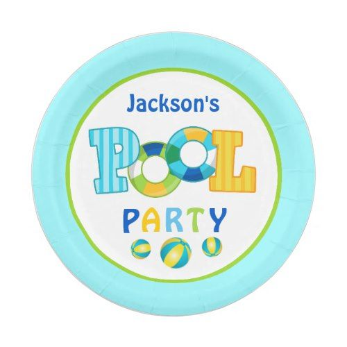 Pool Party Beach Ball Paper Plates Zazzle Com Beach Party