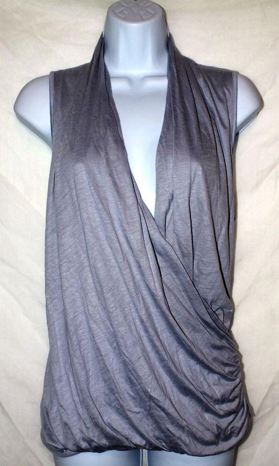 Banana Republic Cross Drape Gray Women's Top Blouse Shirt Size M #BananaRepublic #Blouse #Casual