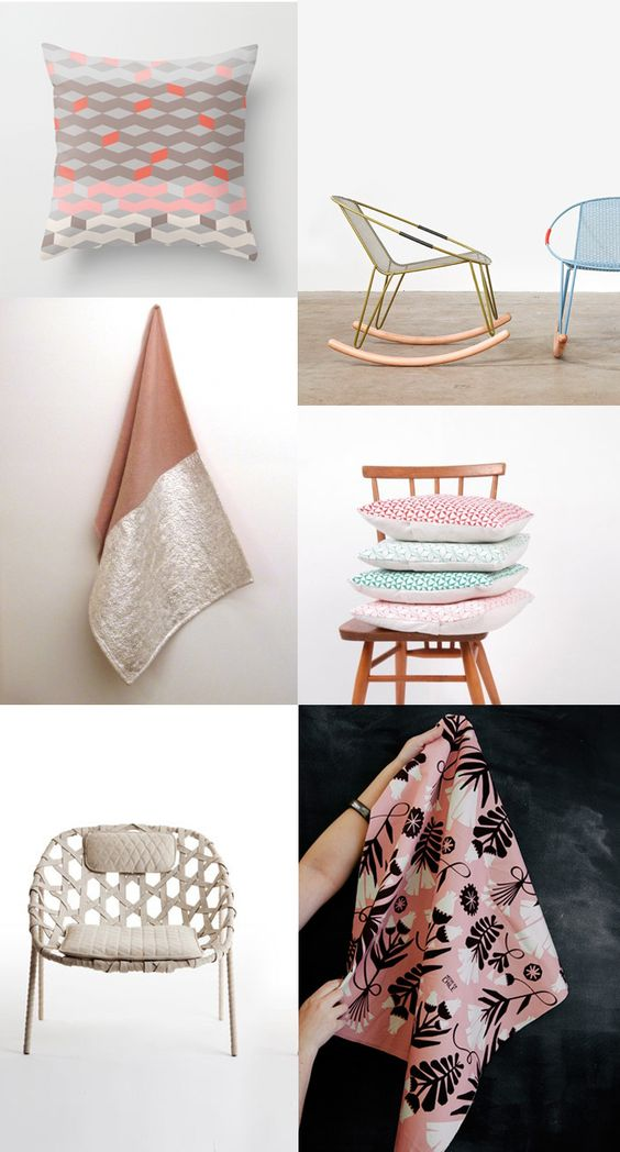 {1. throw pillow 2. volley rocker 3. silver blanket 4. Lauren Spencer 5. woven chairs 6. Karen Barbe } All these 'homewares' are very welcome to come and live in my house. Lottie Loves is a pinner that I enjoy...