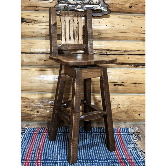 Homestead Rough Sawn Swivel Bar Stool with Back