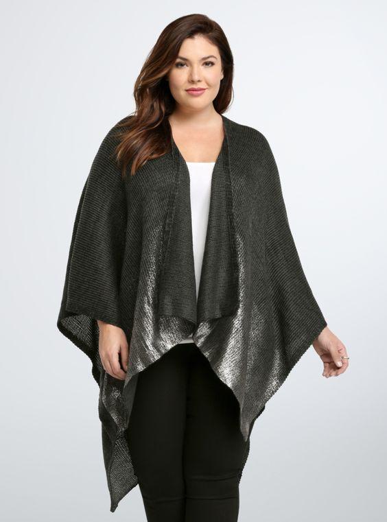 Marled Shine Ruana Wrap From the Plus Size Fashion Community at www.VintageandCurvy.com
