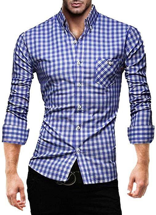 K 2014 Hemd Karriert Blau S Amazon De Bekleidung Herren Hemden Slim Fit Hemd Kariertes Hemd