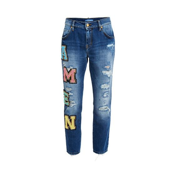 Amen Embroidery Jeans (€425) ❤ liked on Polyvore featuring jeans, blue, destroyed jeans, torn jeans, embroidery jeans, ripped jeans and distressed jeans