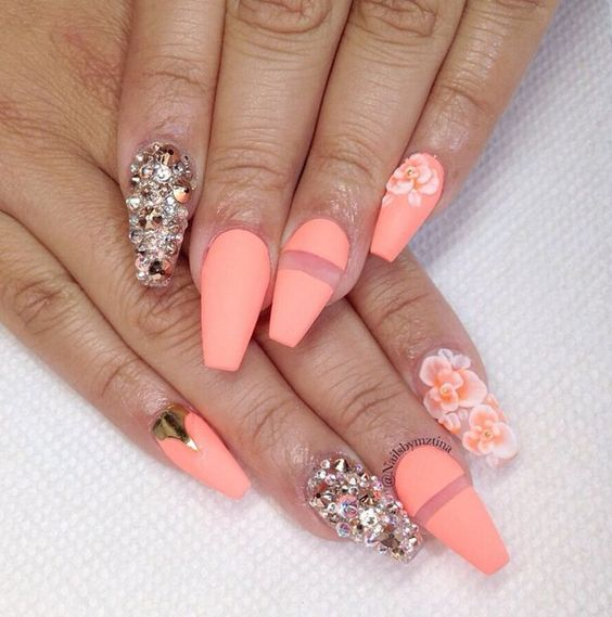 Neon Coral Squoval Acrylic Nail w/ Rhinestones & Gold Foil