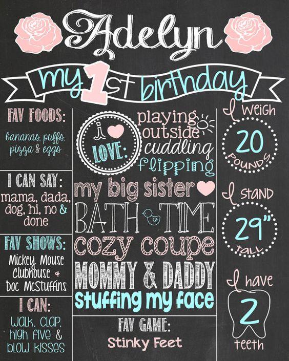 Vintage Shabby Chic First Birthday Chalkboard Poster