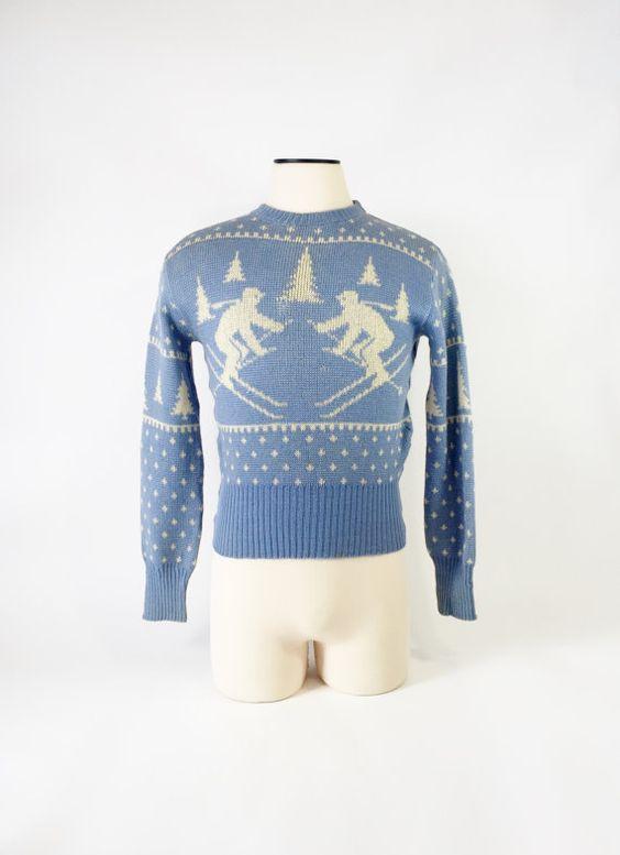 Vintage 1950's Ski Sweater / Novelty Skier Print / by fourBvintage
