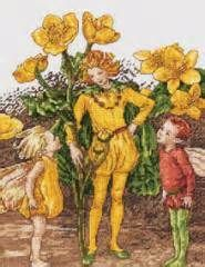 Fairies among buttercups, cross stitch taken from the art of Cicely Mary Barker