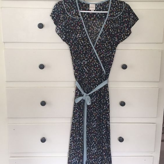"Polka dot Faux wrap dress but front opens 42"" L polyester probably but really cute Dresses Midi"