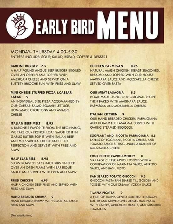 Check out Barone's Menu between 4:00-5:30 PM, available from Monday thru Thursday! #Pizza #Deals #Menu #KentsDeals