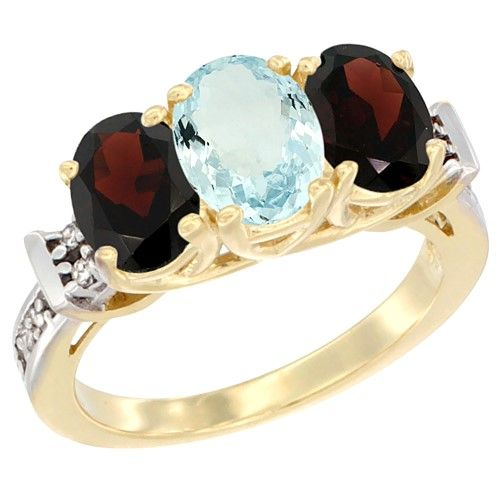 10K Yellow Gold Natural Aquamarine & Garnet Sides Ring 3-Stone Oval Diamond Accent, size 8.5, Women's