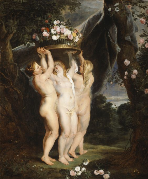 Peter Paul Rubens : The Three Graces, 1620–24. Las Tres Gracias por Peter Paul Rubens, década de 1620.