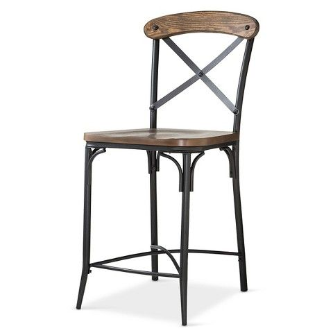 "Bralton 24"" Counter Stool Steel/Brown - The Industrial Shop™"