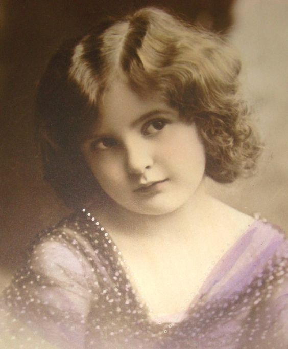 Real Hnd Tinted  Photo Postcard of Little Girl in a Purple Polka-Dot Dress