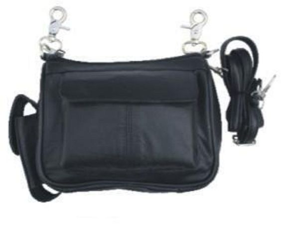 Motorcycle Biker BLACK Leather Belt Loop Clip Purse Pouch Case Bag XL #Allstate #Satchel