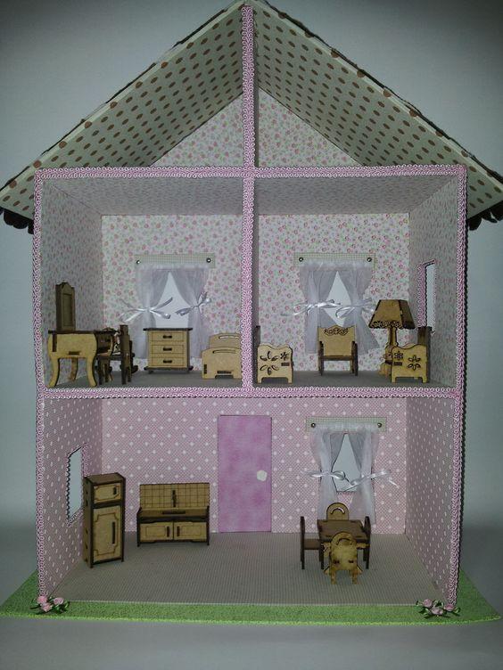 como fazer uma casinha de boneca reciclada - Pesquisa Google