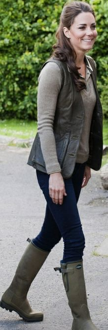 Kate Middleton:  Shirt - Burberry Earrings - Kiki McDonough Shoes - Le Chameau Jacket - Really Wild Sweater - Zara