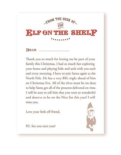 Elf on the shelf good bye letter