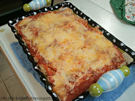 Baked Cream Cheese Spaghetti Casserole Recipe Main Dishes with pasta sauce, lean…