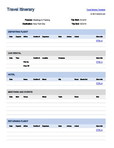 international travel itinerary template