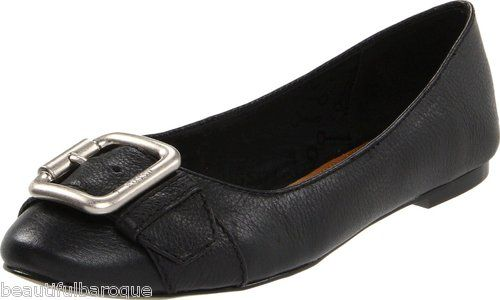 Fossil Maddox Black Noir Genuine Leather Buckle Accented Rounded Toe Flats