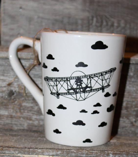 16 Ounce Coffee Mug Airplane unique gift by threepaintedarrows