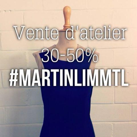 Vente d'atelier ce vendredi 31 mai,   de 13h à 19h,   au 5425, bordeaux, suite 402.    #MARTINLIMMTL #SampleSale #modeMTL #montreal