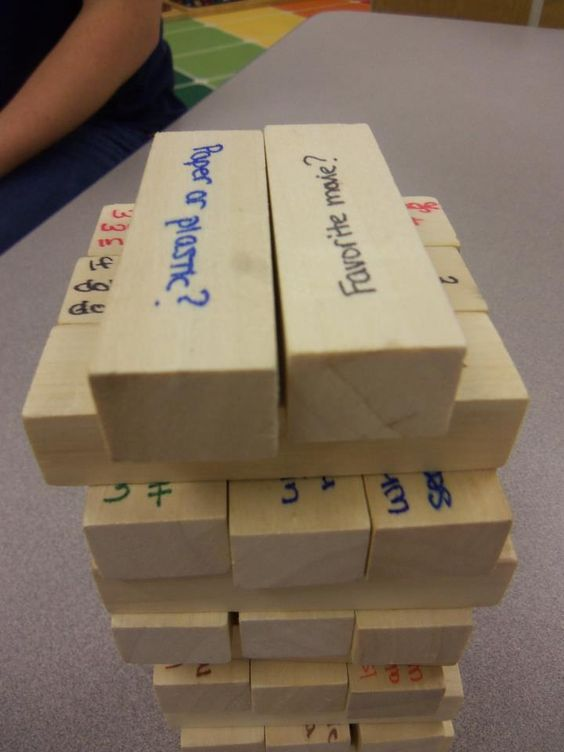 What a great idea for the first week! Conversation Jenga!!!  A fun way to play Jenga as well as get your students thinking and talking!  Students answer a question each time they pull a piece!