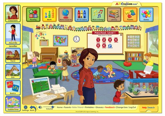 ABCmouse.com: Children's Learning Website Review: The classroom page of the ABCmouse.com website.