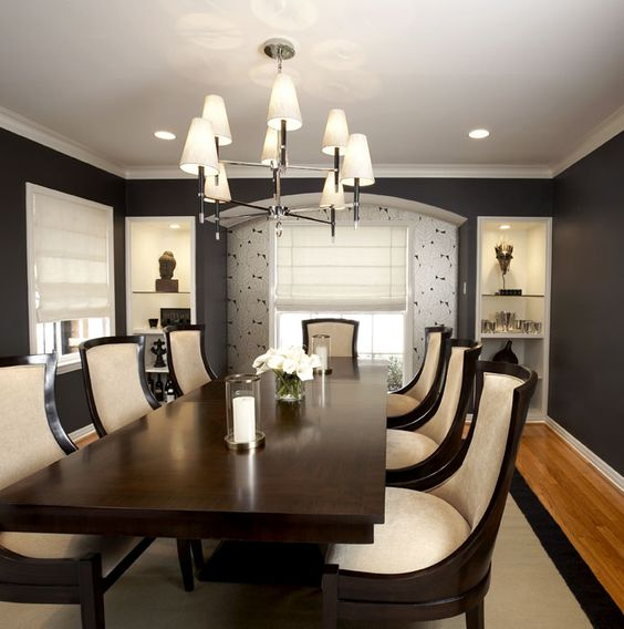 Nest interior design ivory black formal dining room for Black dining room chandelier