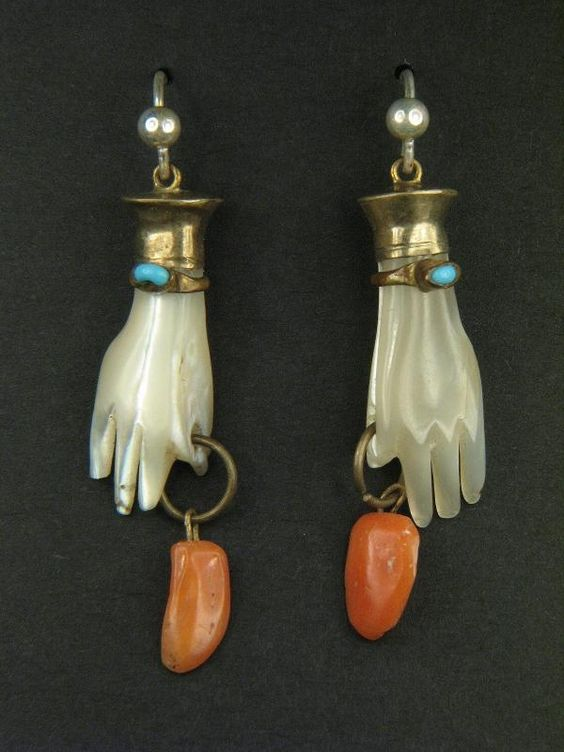 ANTIQUE GILT CARVED MOTHER OF PEARL PAIR OF HANDS w/ CORAL DROP EARRINGS c1800's   eBay, $165.00