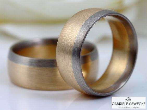 Eheringe - BiColor Eheringe 7 & 8mm, 585 Rosè-Weißgold... - ein Designerstück von Schmuckbotschaften bei DaWanda