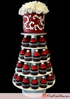Black and burgundy #Cupcake Wedding cake