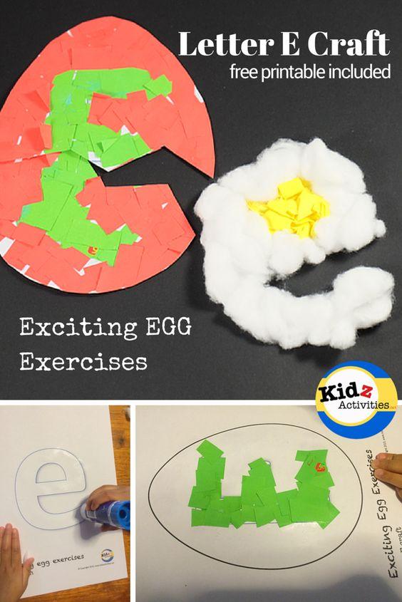 Letter e craft for preschool exciting egg exercises for E crafts for preschoolers