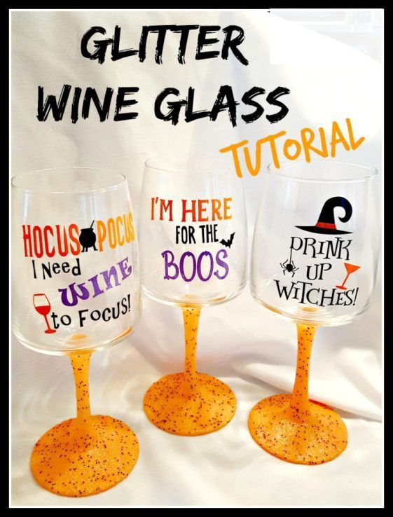 How To Make Glitter Wine Glasses With Mod Podge And Vinyl Decals Make Your Own Halloween Glasses Perfect Glitter Wine Glasses Glitter Wine Glass Glitter Wine