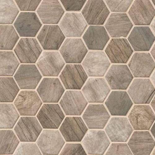 Driftwood Hexagon 6mm Rustic Look Glass Mosaic Tile Backsplash Floor Tile Glass Mosaic Tile Backsplash Mosaic Tile Backsplash Shower Floor Tile
