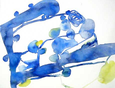 Linda Geary      Thin Blue, 2006      watercolor on paper      22 1/4 x 30 inches