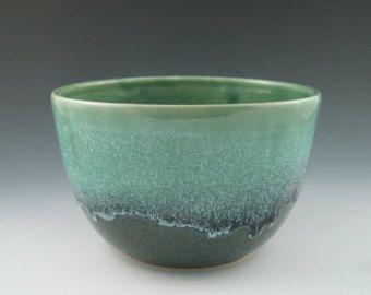 Tazón de cerámica hecha a mano Aqua Swirl por hbceramics en Etsy