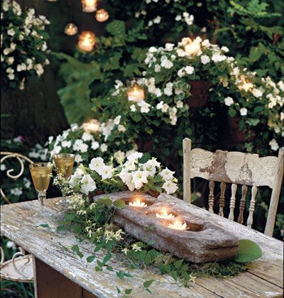 Stone trough used as candle holder