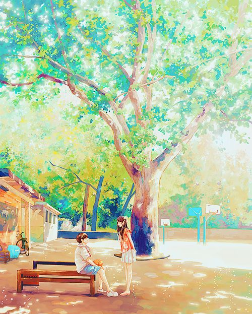 ✮ ANIME ART ✮ anime scenery. . .anime couple. . .boy and girl. . .tree. . .leaves. . .sunlight. . .nature. . .bench. . .park. . .watercolor. . .cute. . .kawaii: