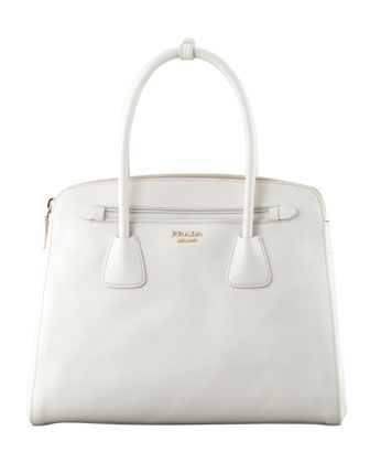 Saffiano Cuir Large Double-Zip Tote Bag, White by Prada at Neiman Marcus.