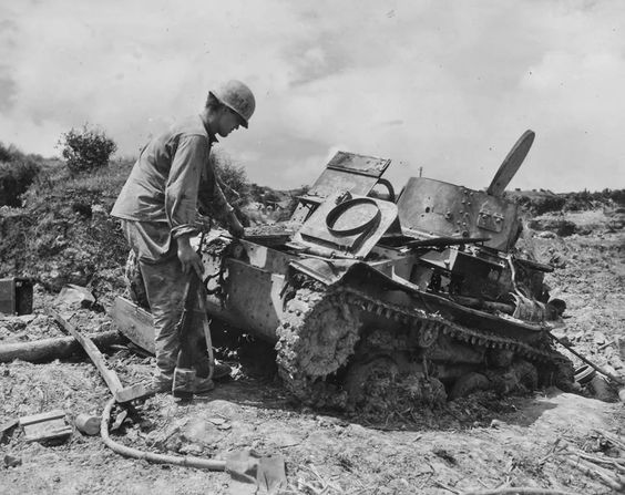 Japanese Type 97 Te Ke Tankette destroyed by 96th Infantry Division Okinawa 1945