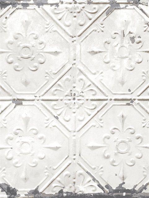 Vintage Tin Tile Off White Metallic Peel And Stick Wallpaper Vintage Tin Tiles Tin Ceiling Antique Tin Ceiling Tile