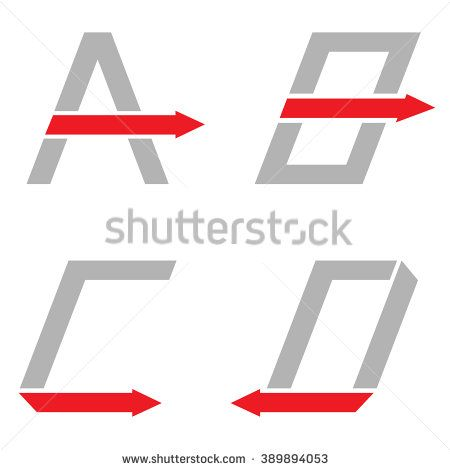 Grey A B C D letters with red arrows. Logo sign set, Motion concept