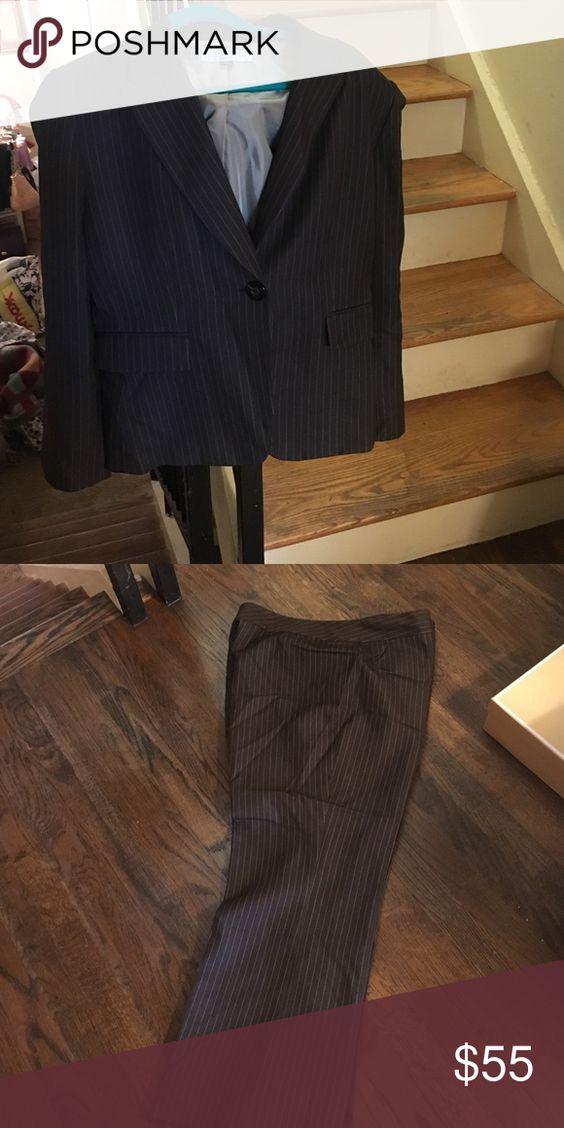 Tahari brown pinstripe pantsuit Tahari pinstripe brown pantsuit. In great condition. Worn a couple of times. Tahari Jackets & Coats Blazers