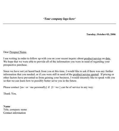 Sales Follow Up Letter Template