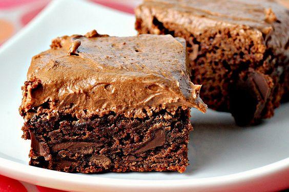 Chocolate Fudge Brownies with Chocolate Buttercream Frosting...ooooh my gosh!!!!!!