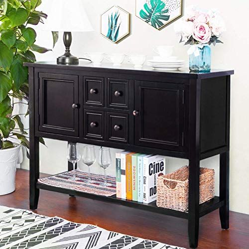 Hooseng Console Buffet Sideboard Sofa Table With 4 Storage Drawers Two Cabinets And Bottom Shelf2 Black Sideboard Table Console Table Sideboard Cabinet