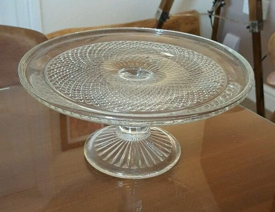 Pressed glass cake stand vintage style wedding home